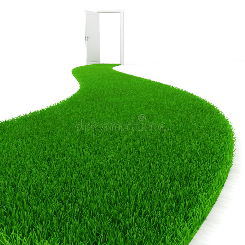 frische Straße des grünen Grases 3d stock abbildung