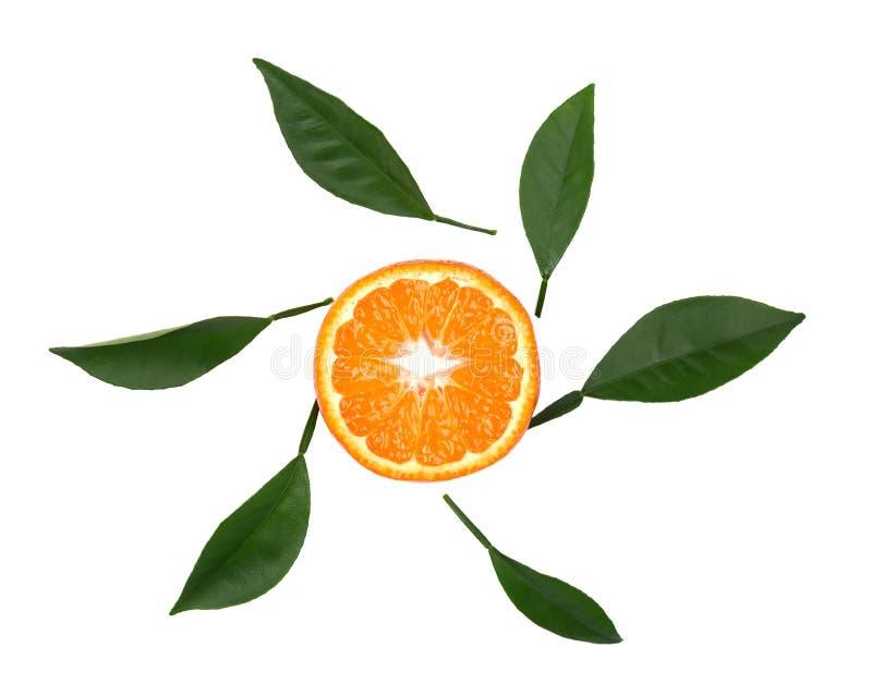 Frische Tangerine mit den Grünblättern lokalisiert auf weißem Hintergrund Scheibe der Tangerine lokalisiert, mit Beschneidungspfa lizenzfreies stockbild