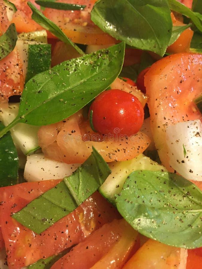 Frische Tomaten, Basilikum u. Gurke des Gartens stockbilder