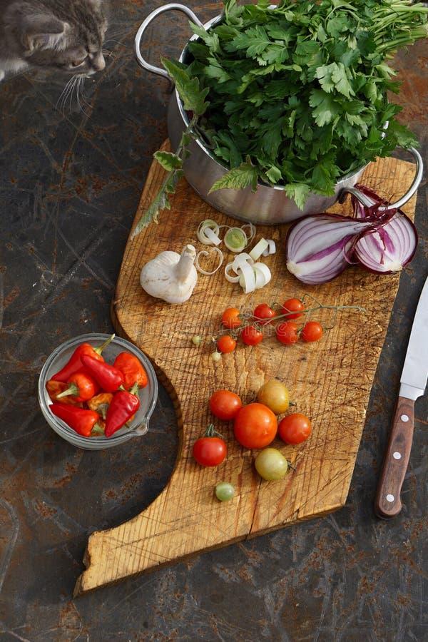 Frische Tomaten, Zwiebel, Knoblauch, Petersilie und Paprika auf hölzernem Brett stockbilder