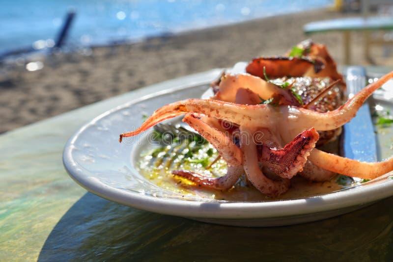 Frische und saftige Schinken- und Melonesonne formte Hintergrund Gebratene Fische mit Petersilie auf einer Platte Angefüllter Kal lizenzfreie stockfotografie