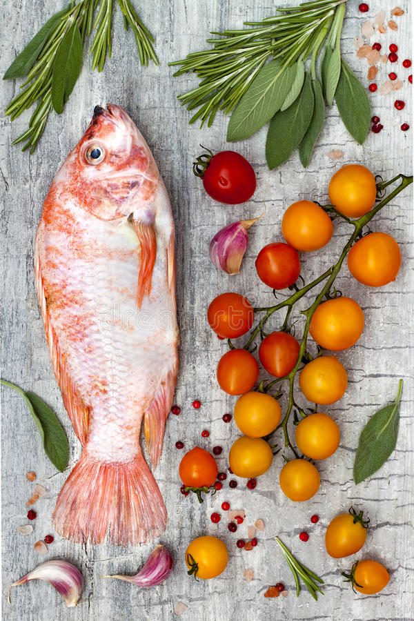 Frische ungekochte rote Tilapiafische mit Zitrone, aromatischen Kräutern, Gemüse und Gewürzen über grauem Steinhintergrund stockfotos