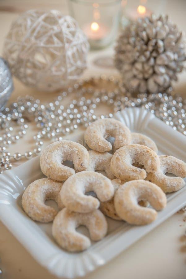 Frische Vanille-Plätzchen mit pulverisiertem Sugar For Christmas stockfotos