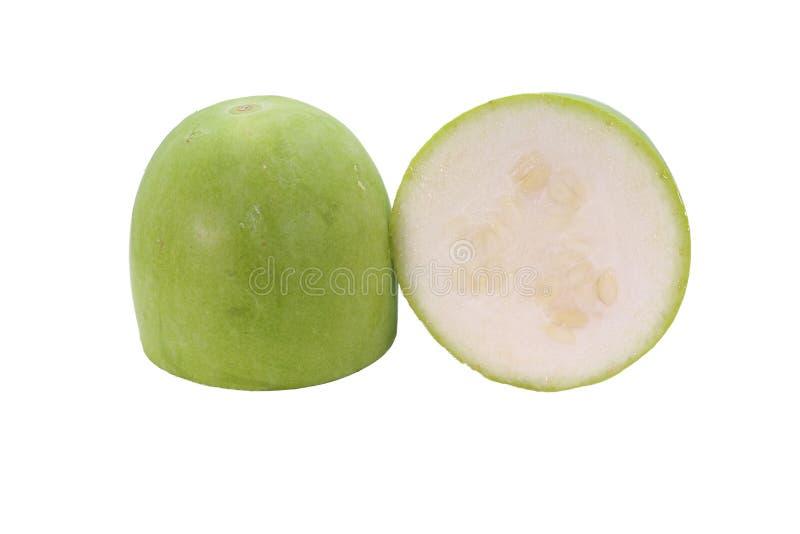 Frische Wachskürbisfrucht lokalisiert auf weißem Hintergrund lizenzfreie stockbilder