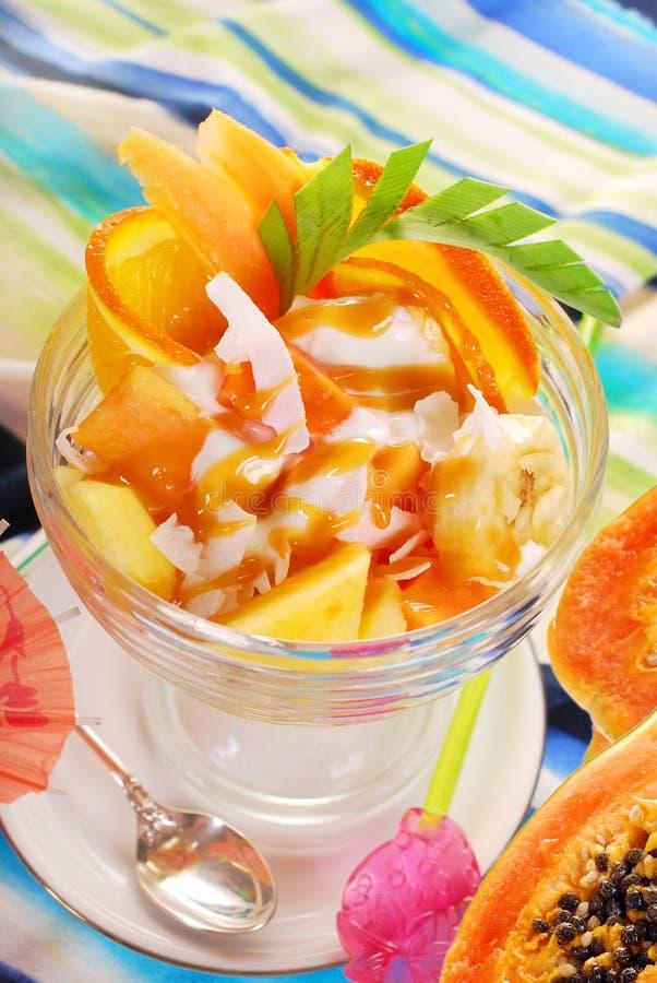 Frischer Fruchtsalat mit Papaya, Banane, Orange, Ananas und cocon lizenzfreie stockfotografie