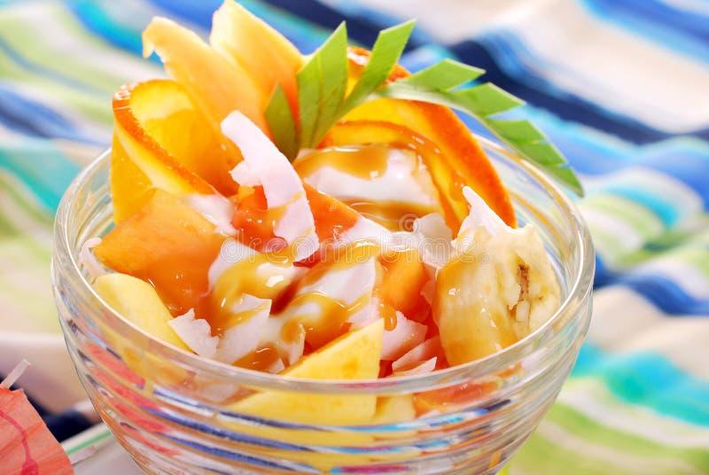 Frischer Fruchtsalat mit Papaya, Banane, Orange, Ananas und cocon stockfotos
