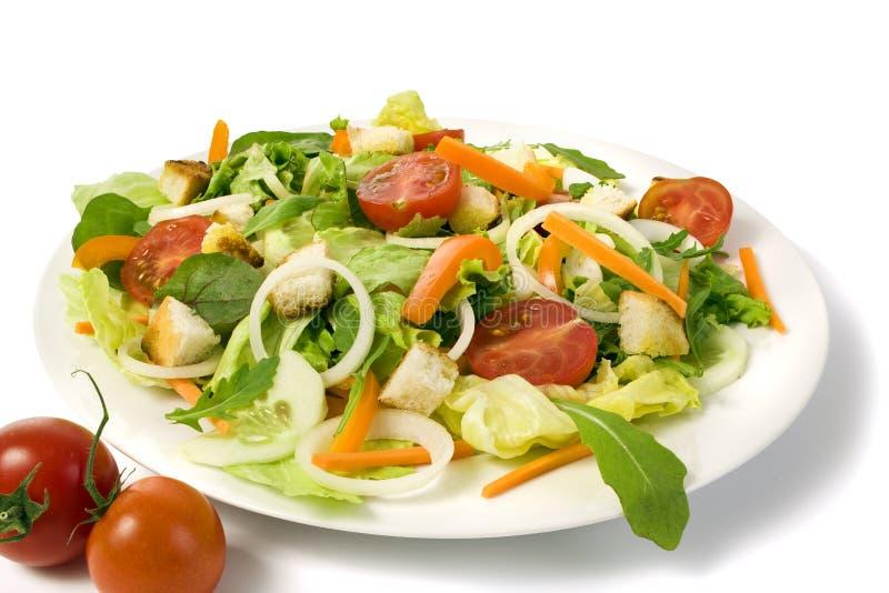 Frischer Gartensalat auf einer Platte getrennt stockbilder