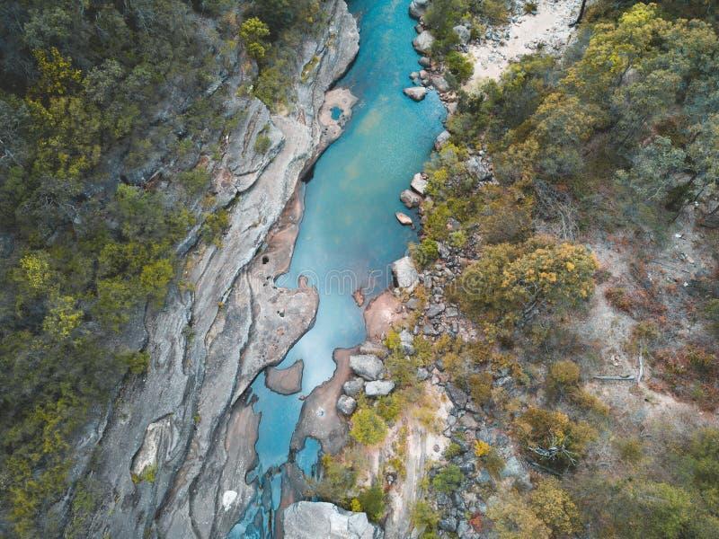 Frischer Gebirgsbach-blaue Berge Australien stockfotos
