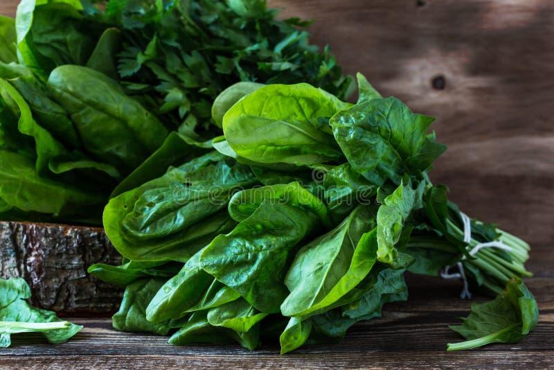 Frischer geernteter organischer Spinat lizenzfreie stockfotografie
