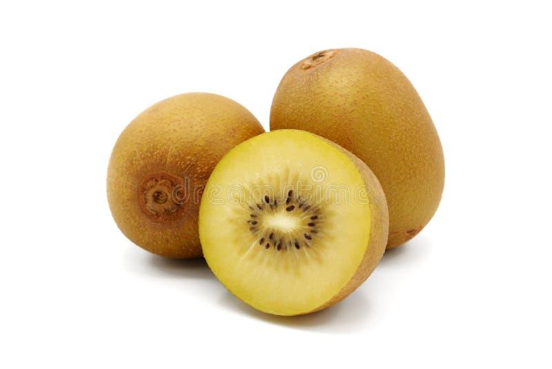 Frischer geschnittener goldener Kiwifruit stockfotos