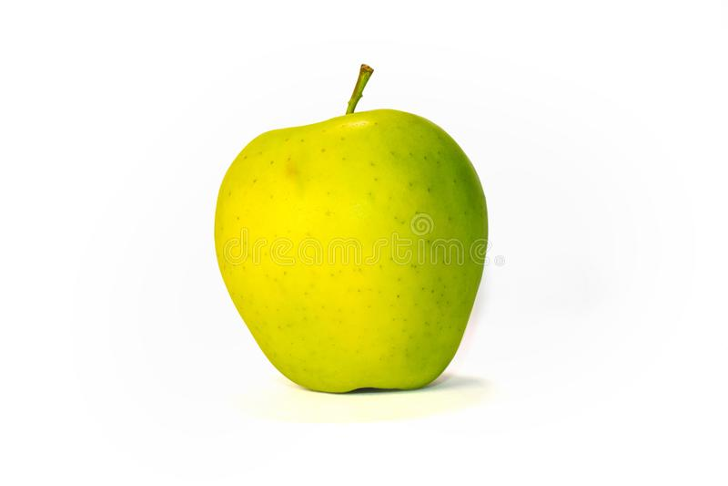 Frischer grüner Apfel auf einem weißen Hintergrund stockbilder