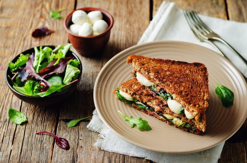 Frischer grüner Mozzarella gegrilltes Roggensandwich lizenzfreie stockfotografie