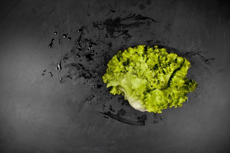 Frischer grüner nasser Kopfsalatsalat auf schwarzem Hintergrund lizenzfreie stockfotos