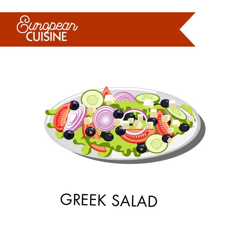 Frischer griechischer Salat von der europäischen Küche lokalisierte Illustration stock abbildung