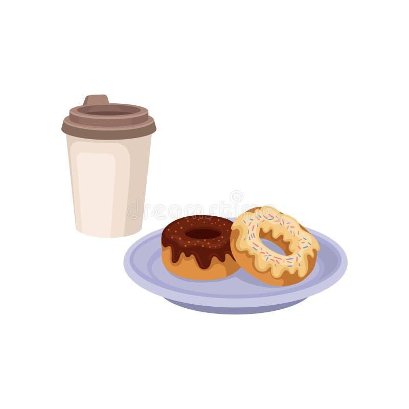 Frischer Kaffee in der Plastikschale und in zwei süßen Schaumgummiringen Köstliches Frühstücksnahrungs- und Getränkthema Flaches  vektor abbildung
