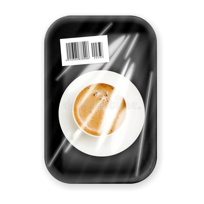 Frischer Kaffee packte im Kasten lizenzfreie stockfotografie