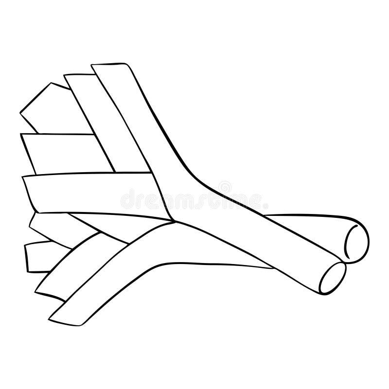 Frischer Lauch Konturnillustration lokalisiert auf weißem Hintergrund Vektor stock abbildung