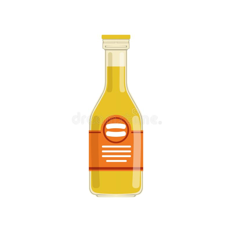 Frischer Orangensaft oder Limonade in der Glasflasche mit rotem Markenetikett Organisches Fruchtgetränk Natürliche Nahrung des st vektor abbildung