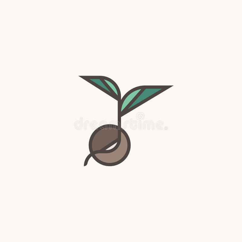 Frischer organischer Sprössling Linie Logokennzeichenschablone mit Keimungssamen lizenzfreie abbildung