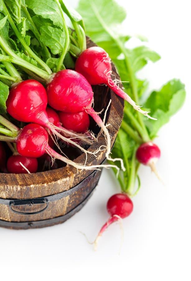 Frischer Rettich des Gemüses im hölzernen Eimer lizenzfreie stockfotos