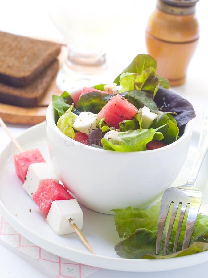 Frischer Salat von der Wassermelone und vom Feta stockbilder