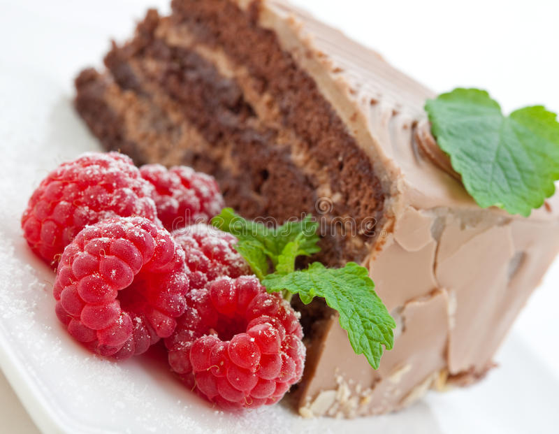 Frischer Schokoladenkuchen mit Himbeeren lizenzfreie stockbilder