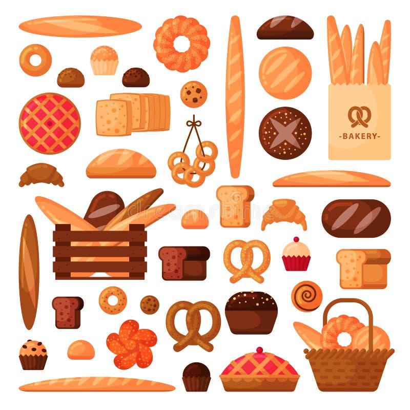 Frisches Brot und Gebäck in der flachen Art lizenzfreie stockbilder