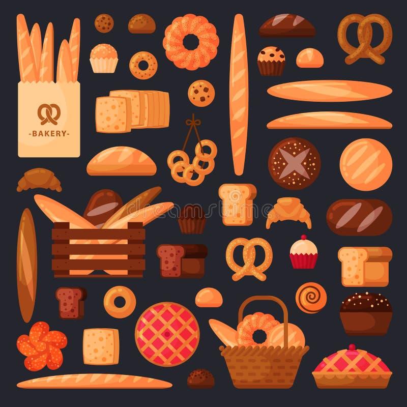 Frisches Brot und Gebäck in der flachen Art lizenzfreie stockfotografie