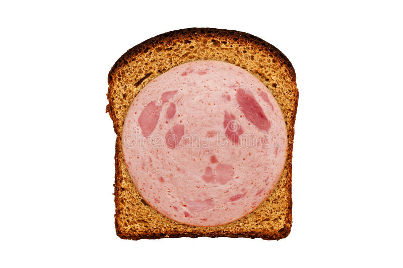 Frisches Brot und Wurst lokalisiert lizenzfreie stockfotografie