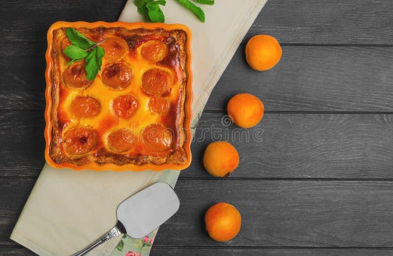 Frisches gebackenes Fruchttortentörtchen mit Aprikose stockfotografie