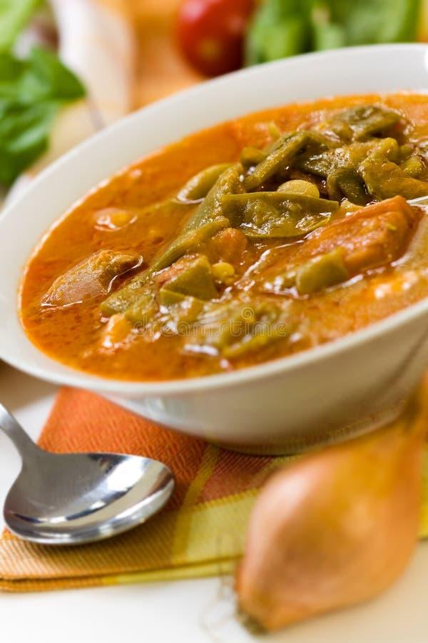 Frisches gekochtes Eintopfgericht mit grünen Bohnen und Bratenschinken, b stockbilder