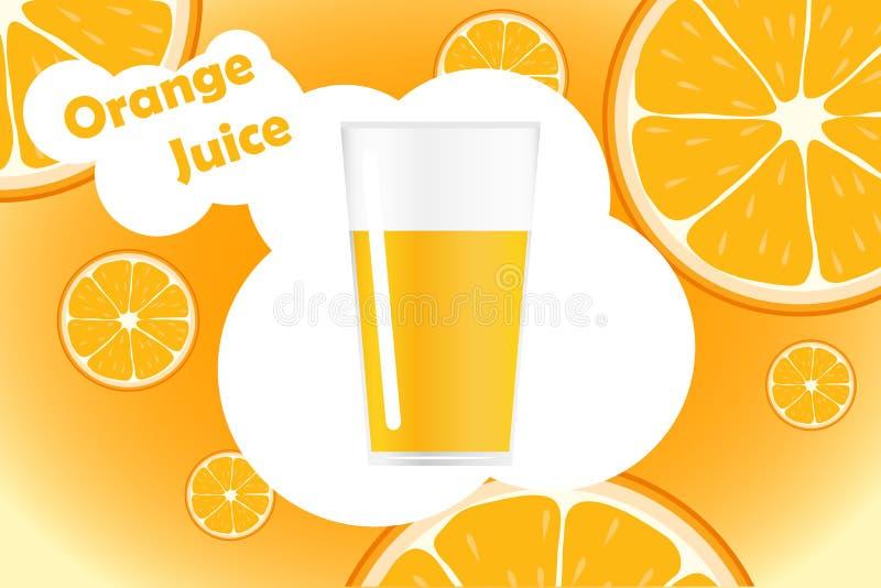 Frisches Orange und Glas mit Saft Natürliche Orangensaftaufkleberdesignschablone Scheibe der reifen frischen Frucht mit Text stock abbildung