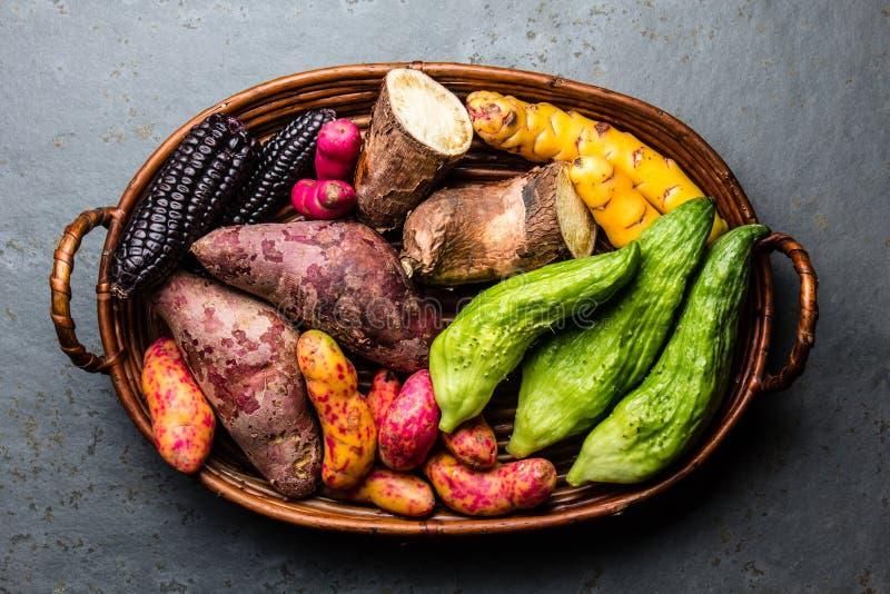 Frisches peruanisches lateinamerikanisches Gemüse caigua, Süßkartoffeln, schwarzer Mais, camote, yuca stockbilder