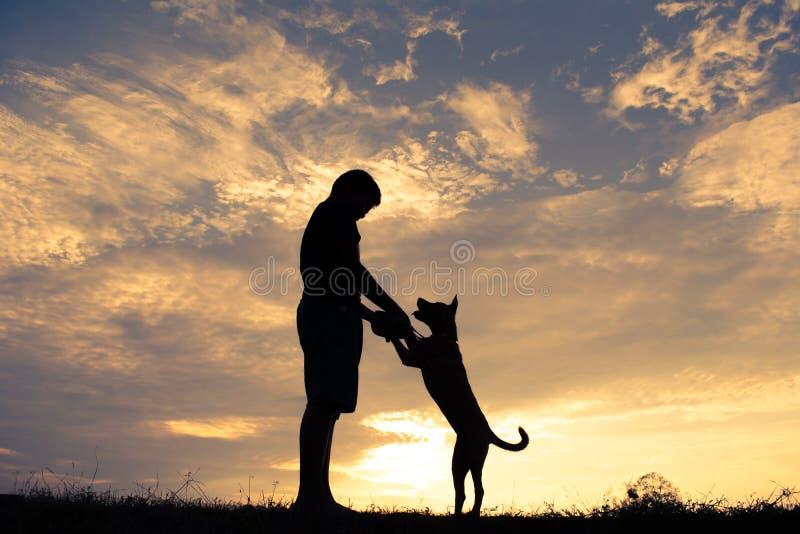 Frisches Pflänzchen, das auf nettem Jungen und dem Hund Boden Schattenbildes spielt bei Himmelsonnenuntergang heranwächst lizenzfreie stockbilder