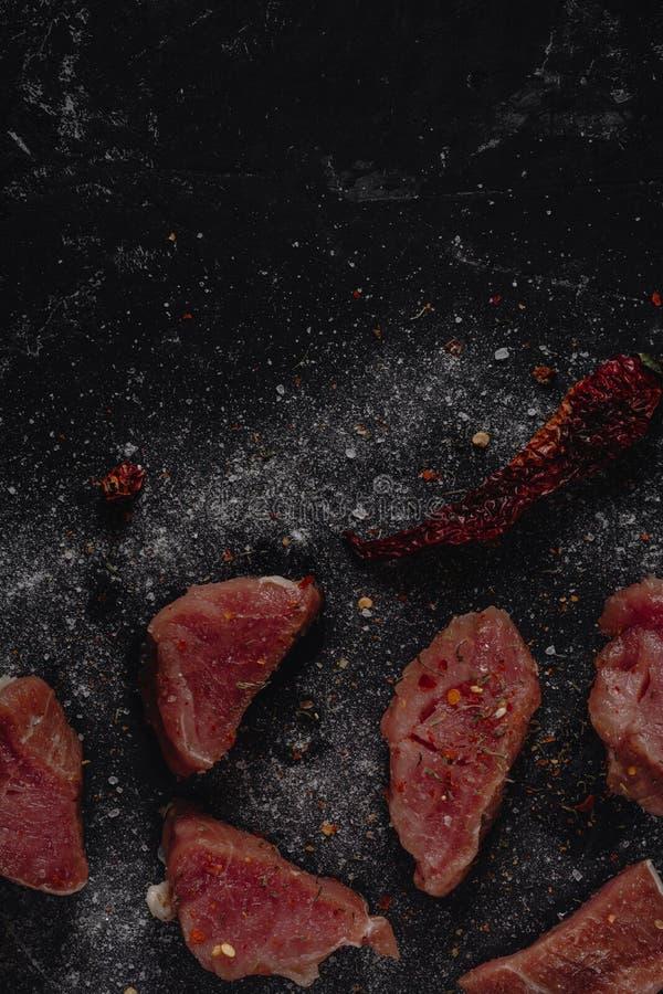 Frisches rohes Schweinefleisch medalions Fleisch mit Gewürzen, Salz und Pfeffer auf einem dunklen Steinhintergrund, Leerstelle fü stockbilder