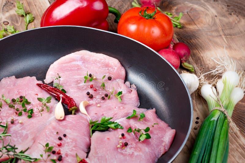 Frisches rohes Schweinefleisch mit Gewürzen in der Wannennahaufnahme lizenzfreie stockfotografie