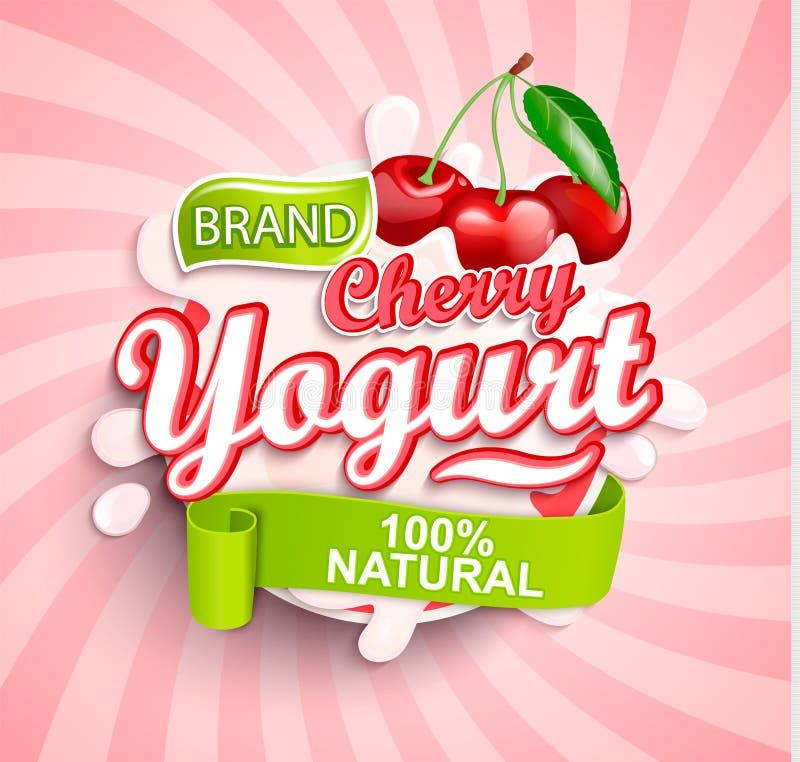 Frisches und natürliches Cherry Yogurt-Aufkleberspritzen lizenzfreie abbildung