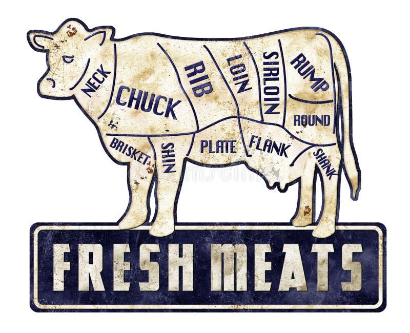 Frischfleisch-Rindfleisch schneidet Zeichen-Weinlese-Schmutz-Retro- Metzger Shop stockbild