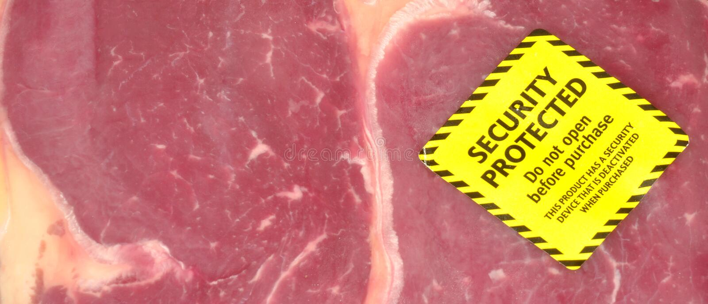 Frischfleisch-Sicherheits-Tag stockfotografie