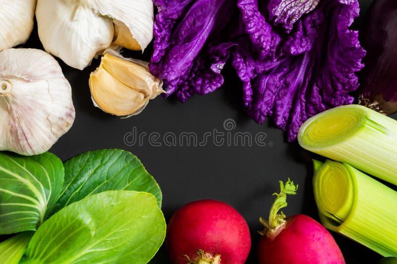 Frischgemüse: bok choy Chinakohl, Knoblauch, Rettiche, Porree und Salat auf schwarzem Hintergrund mit Kopienraum Gesunde Nahrung lizenzfreie stockfotos