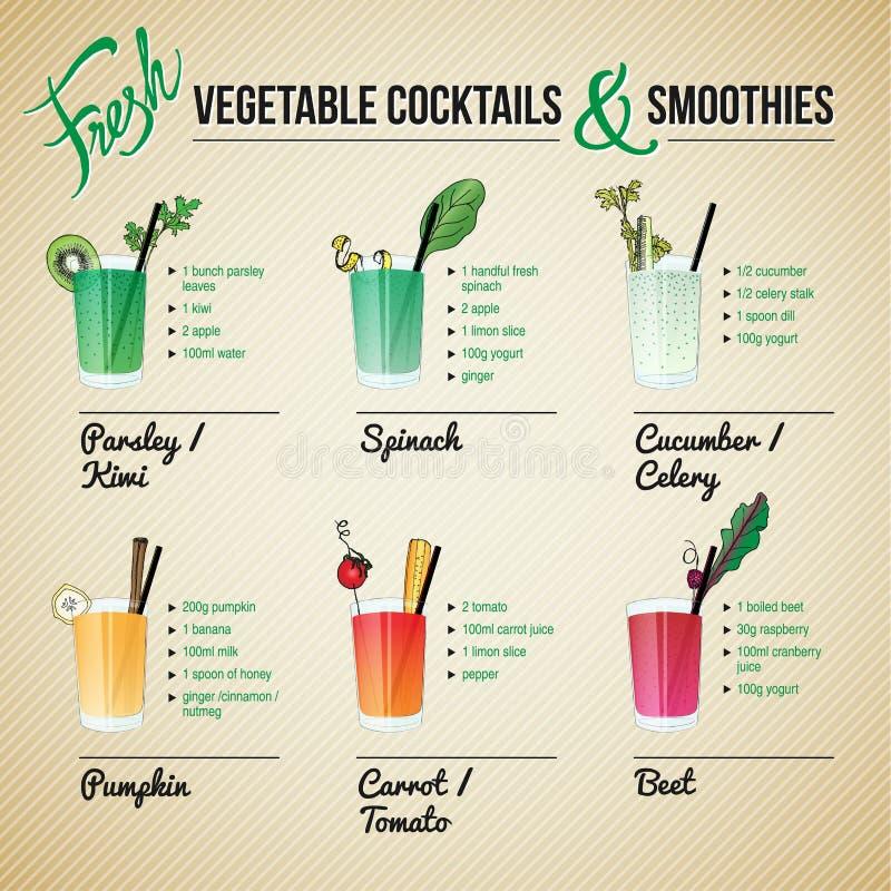 Frischgemüse Cocktails und Smoothies stock abbildung