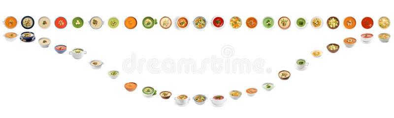 Frischgemüse Detoxsuppe mit Croutons im Teller auf Weiß stockfotografie