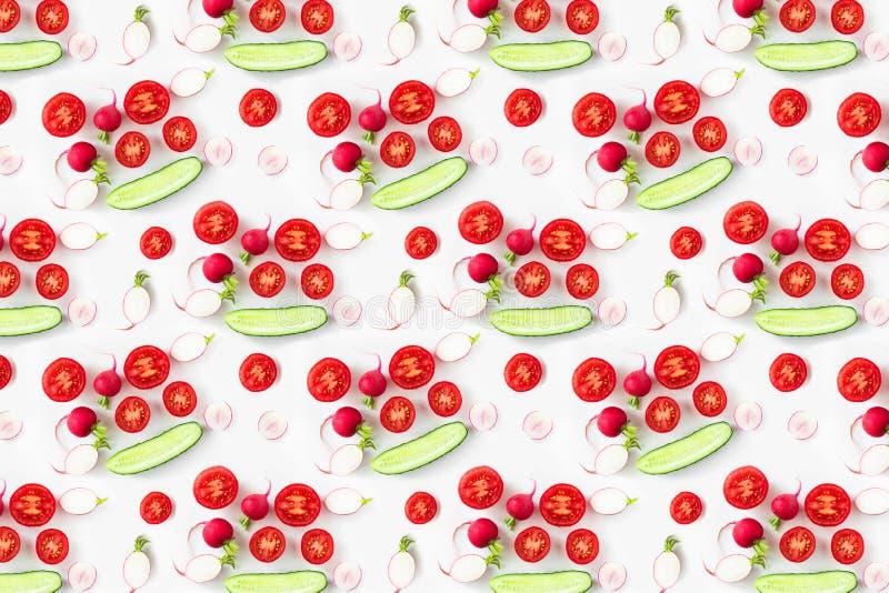 Frischgemüse-Salat-Bestandteile oben geschossen, Muster stockbild