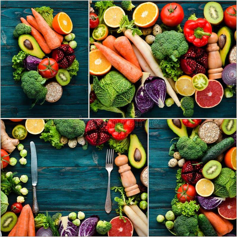 Frischgemüse und Früchte der Fotocollage lizenzfreie stockfotografie