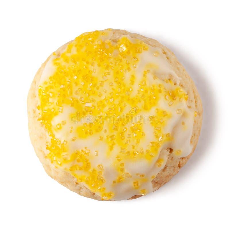 Frischkäseplätzchen der Zitronenglasur lokalisiert auf weißem Hintergrund lizenzfreie stockfotografie