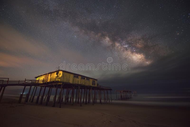 Frisco pir under Vintergatangalaxen royaltyfri fotografi