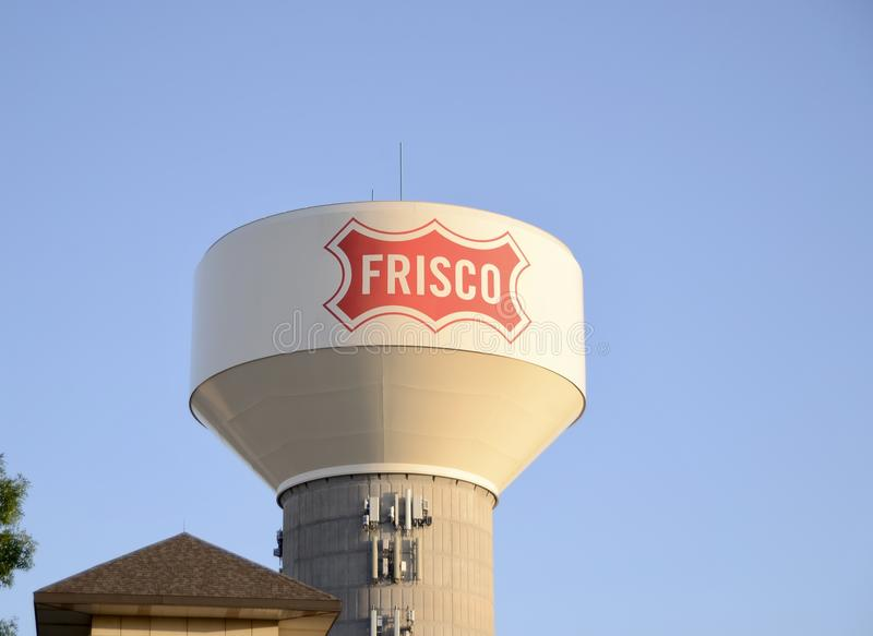 Frisco Texas Water Tower, Frisco, Texas. Frisco is a city in Collin and Denton counties in Texas. It is part of the Dallas-Fort Worth metroplex, and is royalty free stock photos