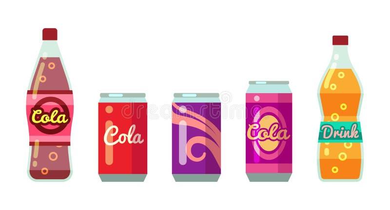 Frisdranken in flessen en blikken vectorillustratiereeks stock illustratie