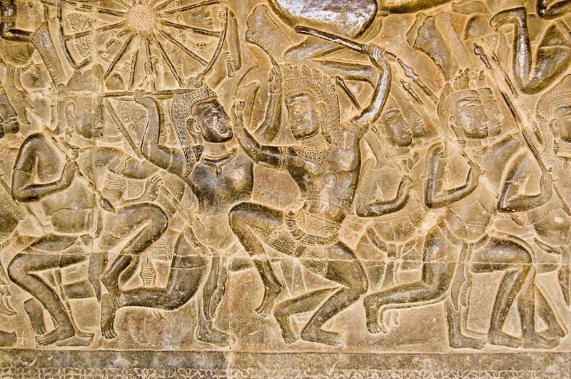 Frise de bataille de Khmer, Angkor Wat photographie stock