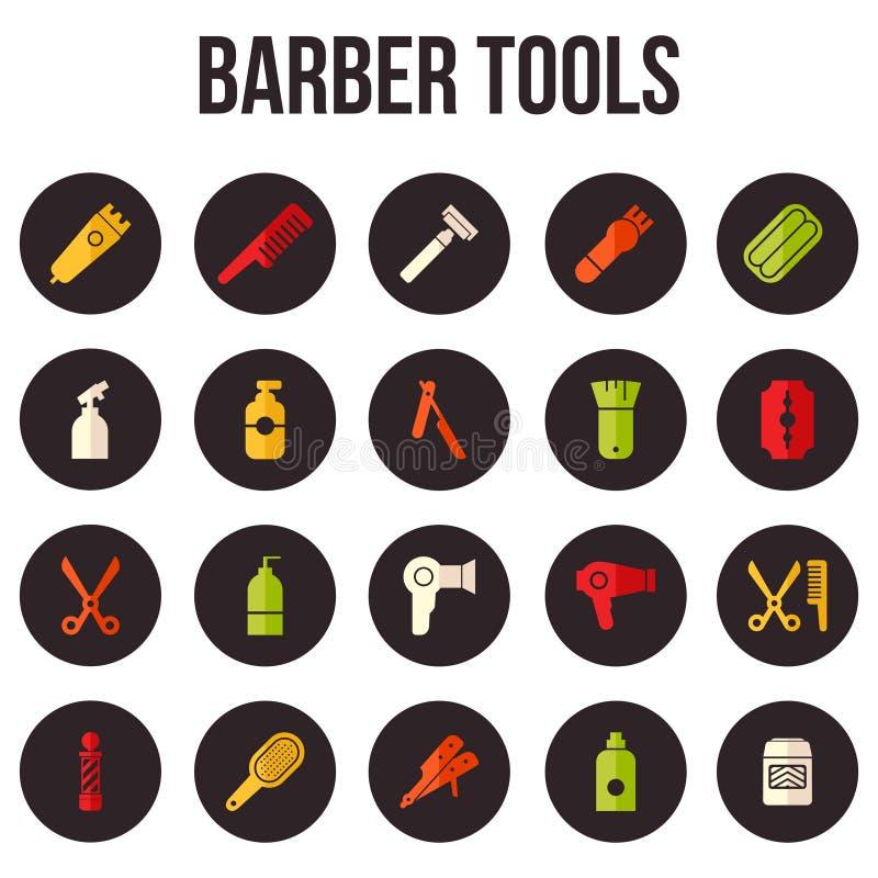 Frisering och Barber Shop Tools Icon Collection upps?ttning vektor illustrationer